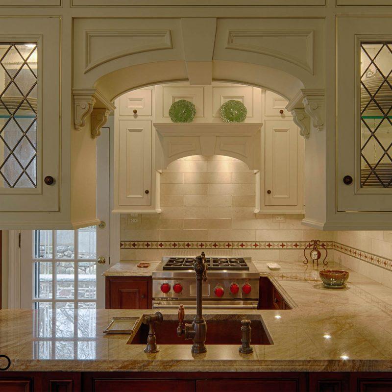 Quartzite Kitchen with Slab Shower